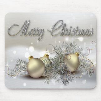 Ornamentos del navidad del reflejo del oro y de la mousepad