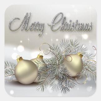 Ornamentos del navidad del reflejo del oro y de la colcomanias cuadradas
