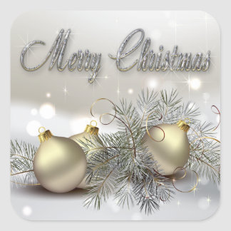 Ornamentos del navidad del reflejo del oro y de la pegatina cuadrada
