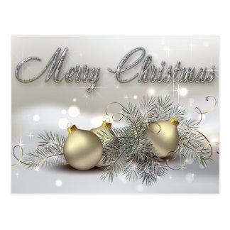 Ornamentos del navidad del reflejo del oro y de la postales