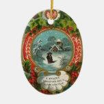 Ornamentos del navidad del vintage - nieve que adorno