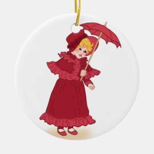 Ornamentos del navidad del vintage - niña adorno navideño redondo de cerámica