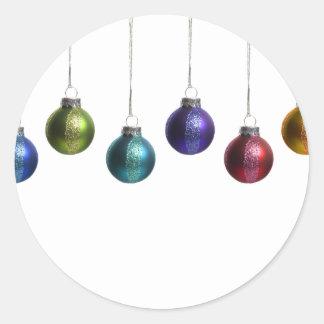 Ornamentos del navidad en oro verde rojo púrpura d pegatinas