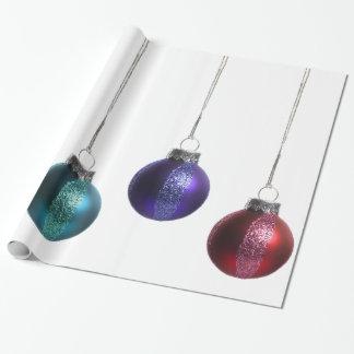 Ornamentos del navidad en oro verde rojo púrpura papel de regalo