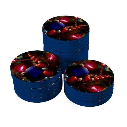 Ornamentos del navidad fichas de póquer