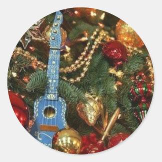 ornamentos del navidad etiqueta redonda