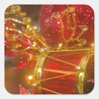 Ornamentos del navidad pegatina cuadrada
