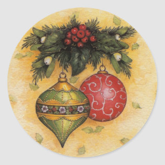 Ornamentos del navidad pegatina redonda