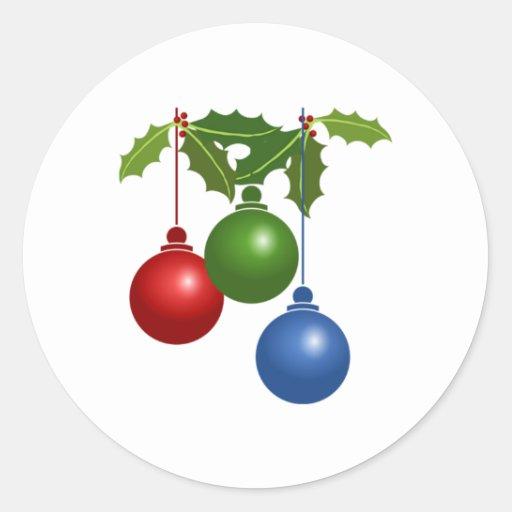 Ornamentos del navidad pegatinas redondas