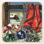 Ornamentos del navidad posavasos desechable cuadrado