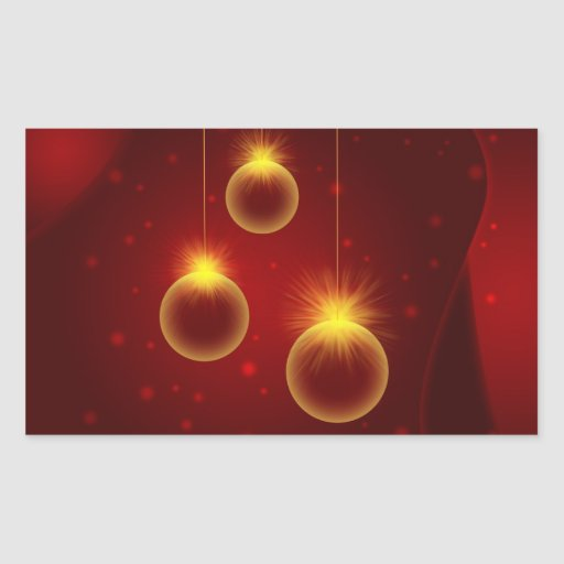 Ornamentos del navidad que brillan intensamente pegatina rectangular