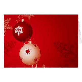 Ornamentos del navidad rojo y blanco tarjeta de felicitación