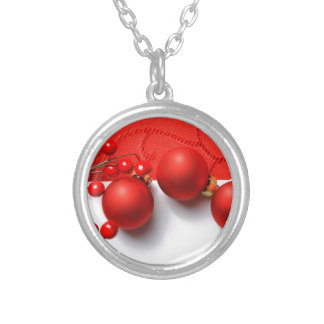 Ornamentos del navidad y bayas rojas collares personalizados