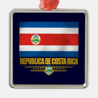 """""""Ornamentos del orgullo de Costa Rica"""" Adorno Navideño Cuadrado De Metal"""
