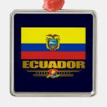 """""""Ornamentos del orgullo de Ecuador"""" Adorno Navideño Cuadrado De Metal"""