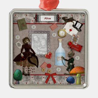 Ornamentos del recuerdo de la fiesta del té adorno navideño cuadrado de metal