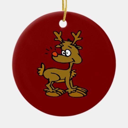 Ornamentos del reno adorno navideño redondo de cerámica