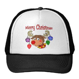 Ornamentos del reno de las Felices Navidad Gorros
