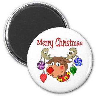 Ornamentos del reno de las Felices Navidad Iman De Nevera