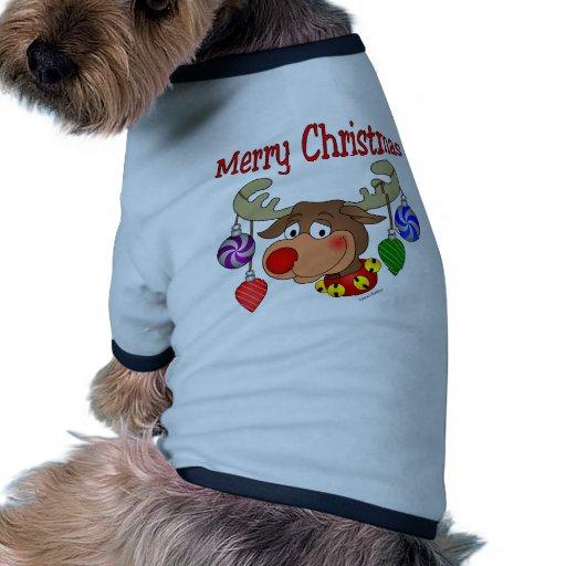Ornamentos del reno de las Felices Navidad Camiseta Con Mangas Para Perro