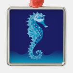 Ornamentos del Seahorse de la aguamarina Adorno Navideño Cuadrado De Metal