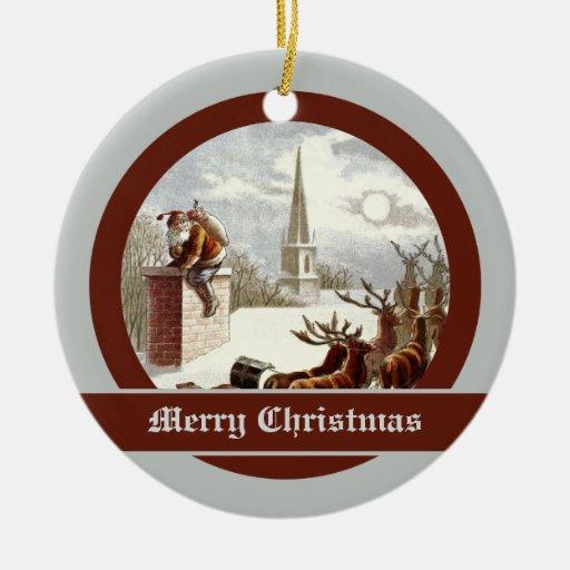 Ornamentos del trineo del reno de Papá Noel del Adorno Navideño Redondo De Cerámica