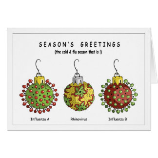 Ornamentos del virus tarjeta de felicitación