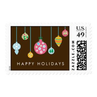 Ornamentos elegantes del árbol de navidad sello postal