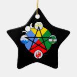 Ornamentos elementales del Pentagram Adorno De Navidad