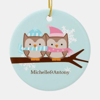 Ornamentos en colores pastel de los búhos ornaments para arbol de navidad