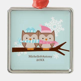Ornamentos en colores pastel de los búhos ornamentos de navidad