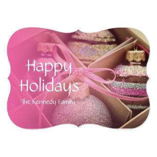 """Ornamentos en colores pastel del navidad invitación 5"""" x 7"""""""