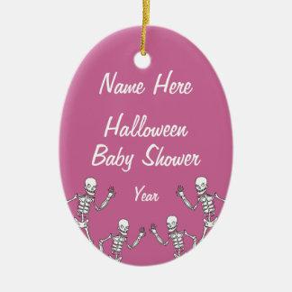 Ornamentos esqueléticos de la fiesta de bienvenida adorno navideño ovalado de cerámica