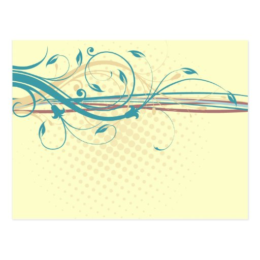 Ornamentos florales abstractos postal