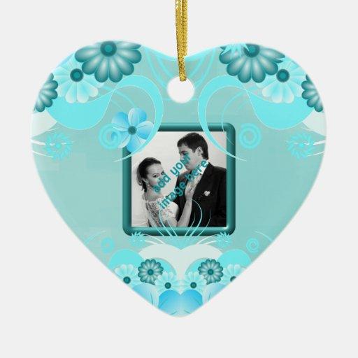 Ornamentos florales del recuerdo del boda del adorno de cerámica en forma de corazón