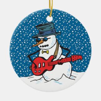 Ornamentos frescos del muñeco de nieve del guitarr adorno para reyes