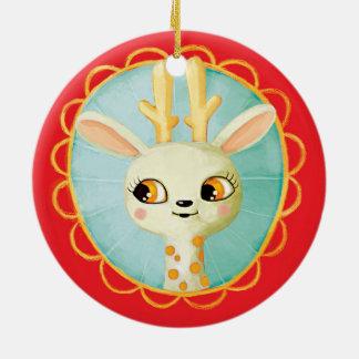 Ornamentos lindos del navidad del reno del vintage adorno navideño redondo de cerámica