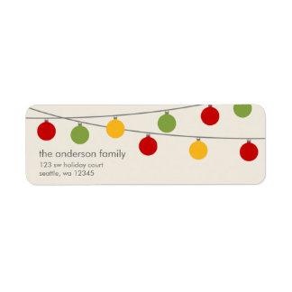 Ornamentos modernos del navidad del día de fiesta etiqueta de remitente