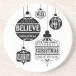 ornamentos modernos del navidad del vintage posavasos personalizados