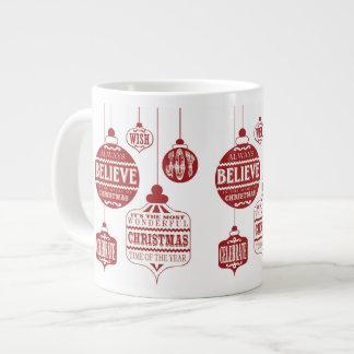ornamentos modernos del navidad del vintage taza extra grande