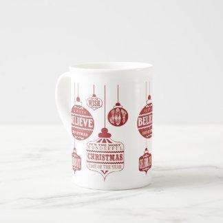 ornamentos modernos del navidad del vintage taza de porcelana