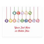 Ornamentos multicolores de la bola de cristal de l postal