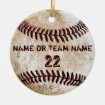 Ornamentos personalizados del béisbol del vintage adorno navideño redondo de cerámica