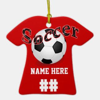 Ornamentos personalizados del fútbol con NOMBRE y Adornos
