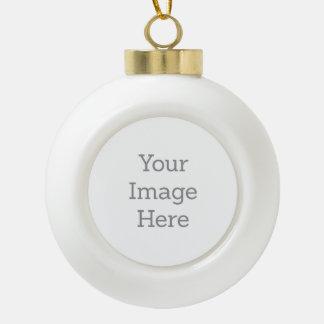 Ornamentos personalizados del navidad adorno de cerámica en forma de bola