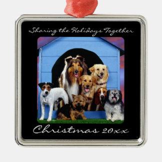 Ornamentos personalizados mascota lindo de la adorno navideño cuadrado de metal