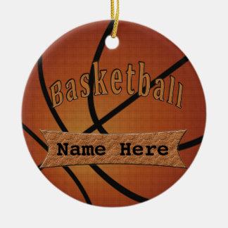 Ornamentos personalizados vintage del baloncesto adorno redondo de cerámica