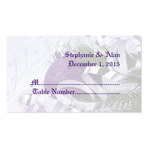 Ornamentos púrpuras chispeantes que casan tarjetas tarjeta de negocio