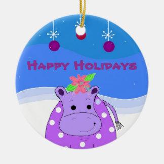Ornamentos púrpuras del hipopótamo y del navidad ornamento para arbol de navidad