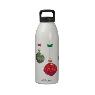 Ornamentos retros del navidad botella de agua